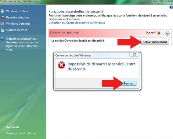 impossible de demarrer le service centre de securite 0