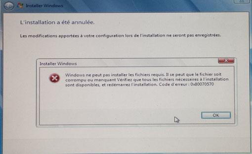 installation windows code erreur 0x80070570 1