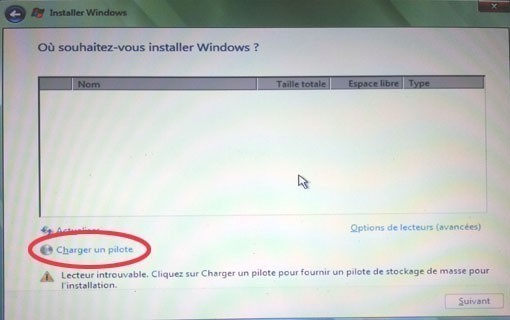 installation windows disque dur introuvable 1