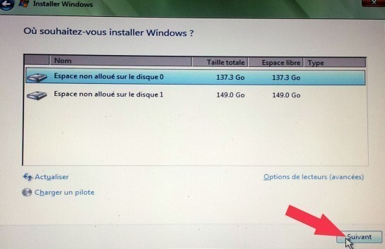 installation windows disque dur introuvable 5