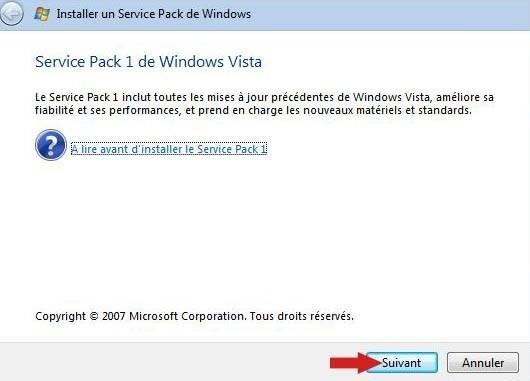 installer pack sp1 vista 6