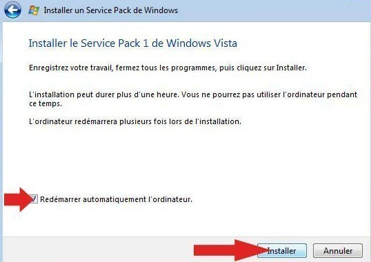installer pack sp1 vista 8