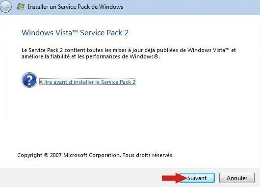 installer pack sp2 vista 6