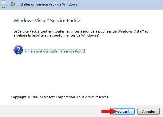 installer pack sp2 vista 6