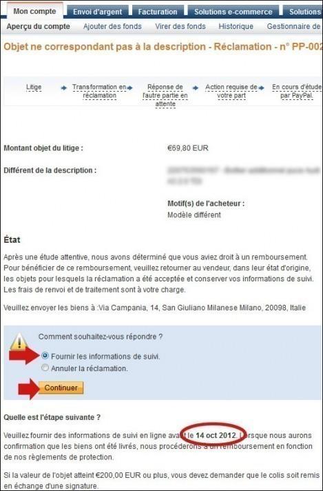 litige et reclamation paypal remboursement 6