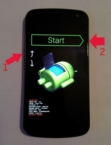 mode recovery ou bootloader du galaxy nexus 1