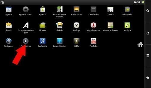 reinitialiser archos 101 internet tablet 2