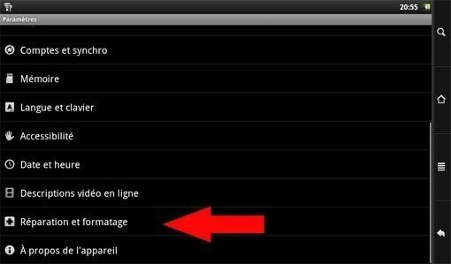 reinitialiser archos 101 internet tablet 3