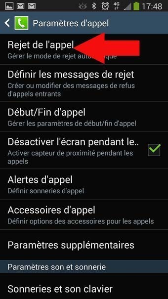 rejet automatique appels masques android 3