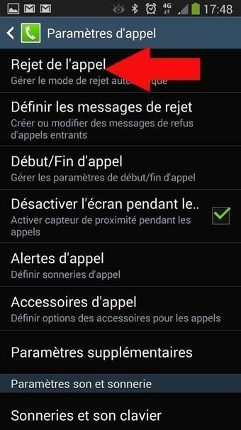rejet automatique appels masques android 3