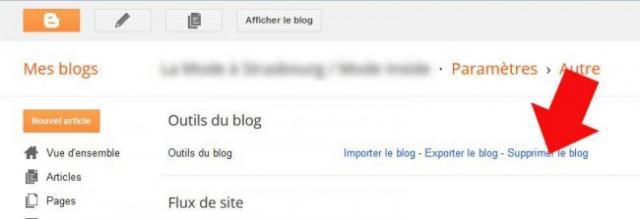 supprimer un blog blogger 5