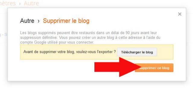 supprimer un blog blogger 6