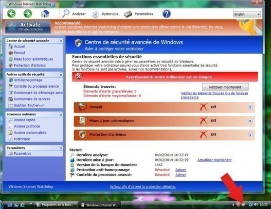 Supprimer virus windows internet watchdog
