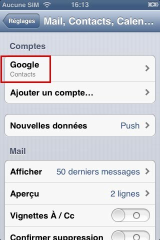 synchroniser ses contacts google avec iphone 6