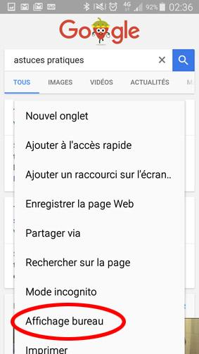 version ordinateur d un site ou page web sur smartphone 14