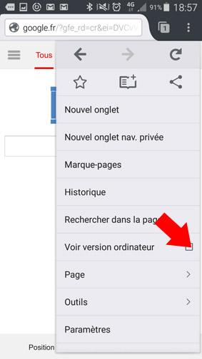 version ordinateur d un site ou page web sur smartphone 19