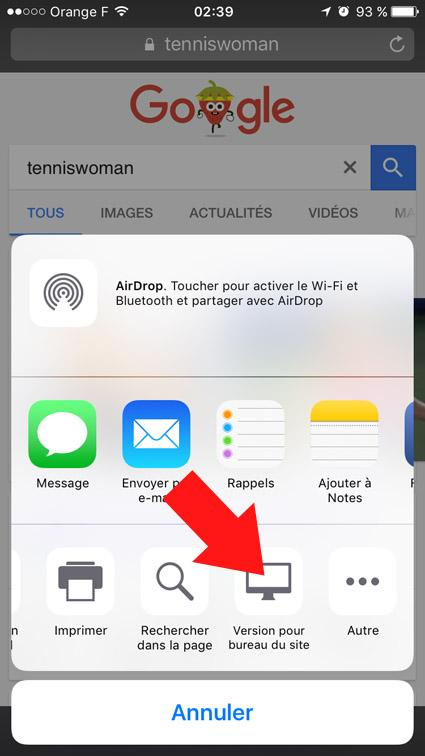 version ordinateur d un site ou page web sur smartphone 3
