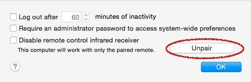 retirer le jumelage apple remote sur le mac 3