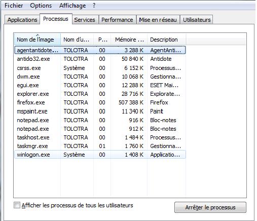 ouvrir le gestionnaire des taches windows 1